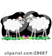 Clipart Illustration Of A Pair Of Adult Sheep Gazing At Eachother By Flowers In The Moonlight