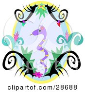 Clipart Illustration Of A Purple Snake With Yellow Stripes Framed By Black Tattoo Designs And Plants In An Oval by bpearth