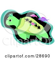Clipart Illustration Of A Green Sea Turtle Swimming With Pink And Purple Fish In The Deep Sea by bpearth