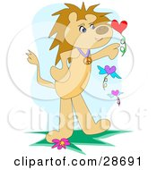 Lion Standing On Its Hind Legs Playing With Flying Hearts