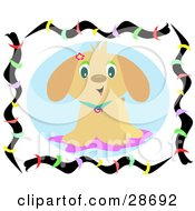 Clipart Illustration Of A Happy Little Brown Puppy Dog In A Collar Wearing A Flower On His Ear And Standing On A Rug Surrounded By A Colorful Frame
