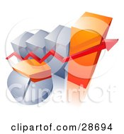 Clipart Illustration Of A Red Arrow Over An Orange And Silver Pie Chart And In Front Of A Bar Graph
