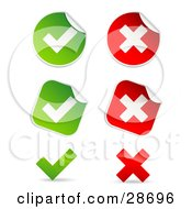 Clipart Illustration Of A Set Of Peeling Square And Circle Green And Red Check Mark And X Mark Stickers