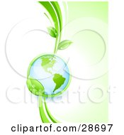Clipart Illustration Of A Shiny Globe In The Grasp Of A Lush Green Leafy Vine