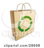 Clipart Illustration Of A Brown Paper Shopping Bag With Handles And Green Recycle Arrows On The Front