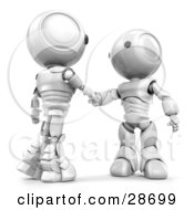 White AO Maru Robots Shaking Hands On A Business Deal by Leo Blanchette