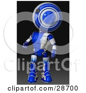 Clipart Illustration Of A Blue AO Maru Robot Standing And Looking Up Over His Shoulder