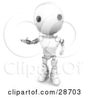 Clipart Illustration Of A Friendly White AO Maru Robot Holding One Hand Out While Gesturing