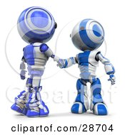 Clipart Illustration Of Blue AO Maru Robots Shaking Hands On A Business Deal