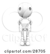 Clipart Illustration Of A White AO Maru Robot Standing Tall With His Arms At His Side Facing Front