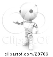 Clipart Illustration Of A White AO Maru Robot Standing And Gesturing With His Hands