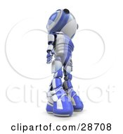 Clipart Illustration Of A Blue AO Maru Robot Towering Above Looking Upwards View From Below