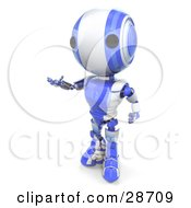 Clipart Illustration Of A Blue AO Maru Robot Standing And Gesturing With His Hands