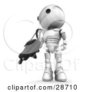 Clipart Illustration Of A White AO Maru Robot Defending Territory With A Big Machine Gun