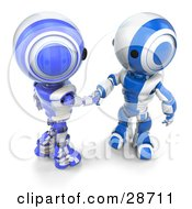 Clipart Illustration Of Two Blue AO Maru Robots Engaged In A Handshake