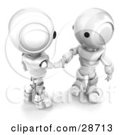 Clipart Illustration Of Two White AO Maru Robots Engaged In A Handshake