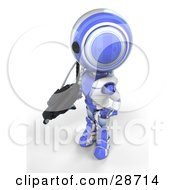 Clipart Illustration Of A Blue AO Maru Robot Protecting Territory With A Big Machine Gun