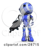 Clipart Illustration Of A Blue AO Maru Robot Defending Territory With A Big Machine Gun