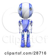 Clipart Illustration Of A Blue AO Maru Robot Standing Tall With His Arms At His Side Facing Front