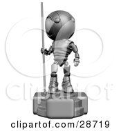 Clipart Illustration Of A Silver AO Maru Robot Statue With The Robot Looking Off To The Right