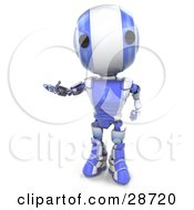 Friendly Blue AO Maru Robot Holding One Hand Out While Gesturing by Leo Blanchette