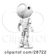 Clipart Illustration Of A Suspicious White AO Maru Robot Looking Back Over His Shoulder