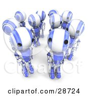 Clipart Illustration Of A Blue AO Maru Robots In A Group One Looking Up At The Viewer While The Others Look In Different Directions