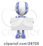 Clipart Illustration Of A Blue AO Maru Robot Facing Front And Holding A Blank White Advertising Board