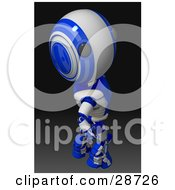 Clipart Illustration Of A Blue AO Maru Robot Looking Upwards Over His Shoulder At The Viewer On A Gradient Black Background