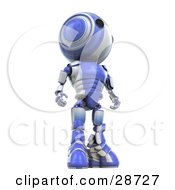 Clipart Illustration Of A Tall Blue AO Maru Robot Standing And Looking Off To The Right View From Below