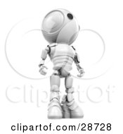 Clipart Illustration Of A Tall White AO Maru Robot Standing And Looking Off To The Right View From Below