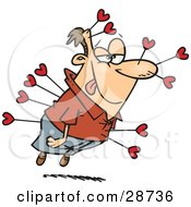 Clipart Illustration Of A Smitten Caucasian Man With A Love Struck Look On His Face Floating And Shot Many Times With Cupids Heart Arrows