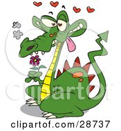 Clipart Illustration Of A Smoking Green Dragon In Love Holding A Pink Flower And Drooling With Red Hearts Floating Above
