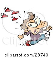Clipart Illustration Of A Scared Little Caucasian Boy Running Away From Girls At School That Have A Crush On Him Hearts Behind Him by toonaday