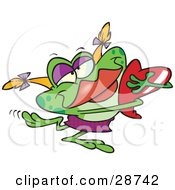 Clipart Illustration Of A Green Female Frog With Blond Hair And Red Lips Hugging A Red Heart by toonaday