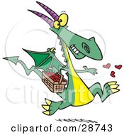 Clipart Illustration Of A Happy Green Dragon In Love Running With A Basket Full Of Hearts Tossing Them Into The Air by toonaday