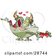 Clipart Illustration Of An Infatuated Green Monster With Pink Spots Grinning And Holding A Valentine With Hearts Above by toonaday