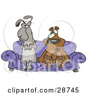 Clipart Illustration Of A Weird Llama And Bear Couple Seated With Confused Expressions On A Purple Couch The Bear Holding A Red Flower by toonaday
