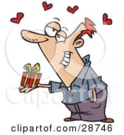 Clipart Illustration Of A Sweet Caucasian Man Delivering A Tiny Gift To His Love With Red Hearts Floating Above by Ron Leishman
