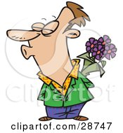 Clipart Illustration Of A Sweet Caucasian Man Holding Purple Flowers Behind His Back And Puckered Up For A Kiss From His Wife Or Girlfriend