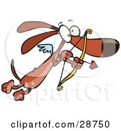 Clipart Illustration Of A Cute Brown Cupid Dog With Tiny Wings Flying With A Heart Arrow Aimed by toonaday