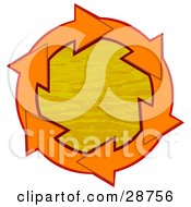 Clipart Illustration Of A Circle Of Orange Arrows Around Orange Rippling Water