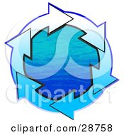 Clipart Illustration Of A Circle Of Gradient White And Blue Arrows Around Blue Water