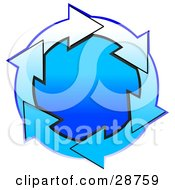Clipart Illustration Of A Circle Of Gradient Blue And White Arrows Around A Gradient Blue Center