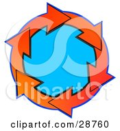 Clipart Illustration Of A Circle Of Gradient Red And Orange Arrows Around Blue by Dennis Cox