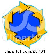 Clipart Illustration Of A Circle Of Yellow Arrows Around A Blue Center