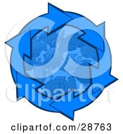 Clipart Illustration Of Blue Arrows Circling Around Schooling Fish In The Deep Blue Sea