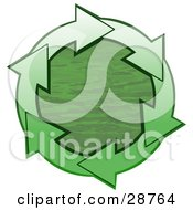 Clipart Illustration Of A Circle Of Gradient Green Arrows Around Green Rippling Water