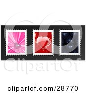 Clipart Illustration Of Pink Disco Heart Red Heart And Navy Blue Disco Heart Postage Stamps On A Gray Background