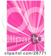 Clipart Illustration Of A Vertical Bursting Pink Background With A Shiny Pink Disco Heart